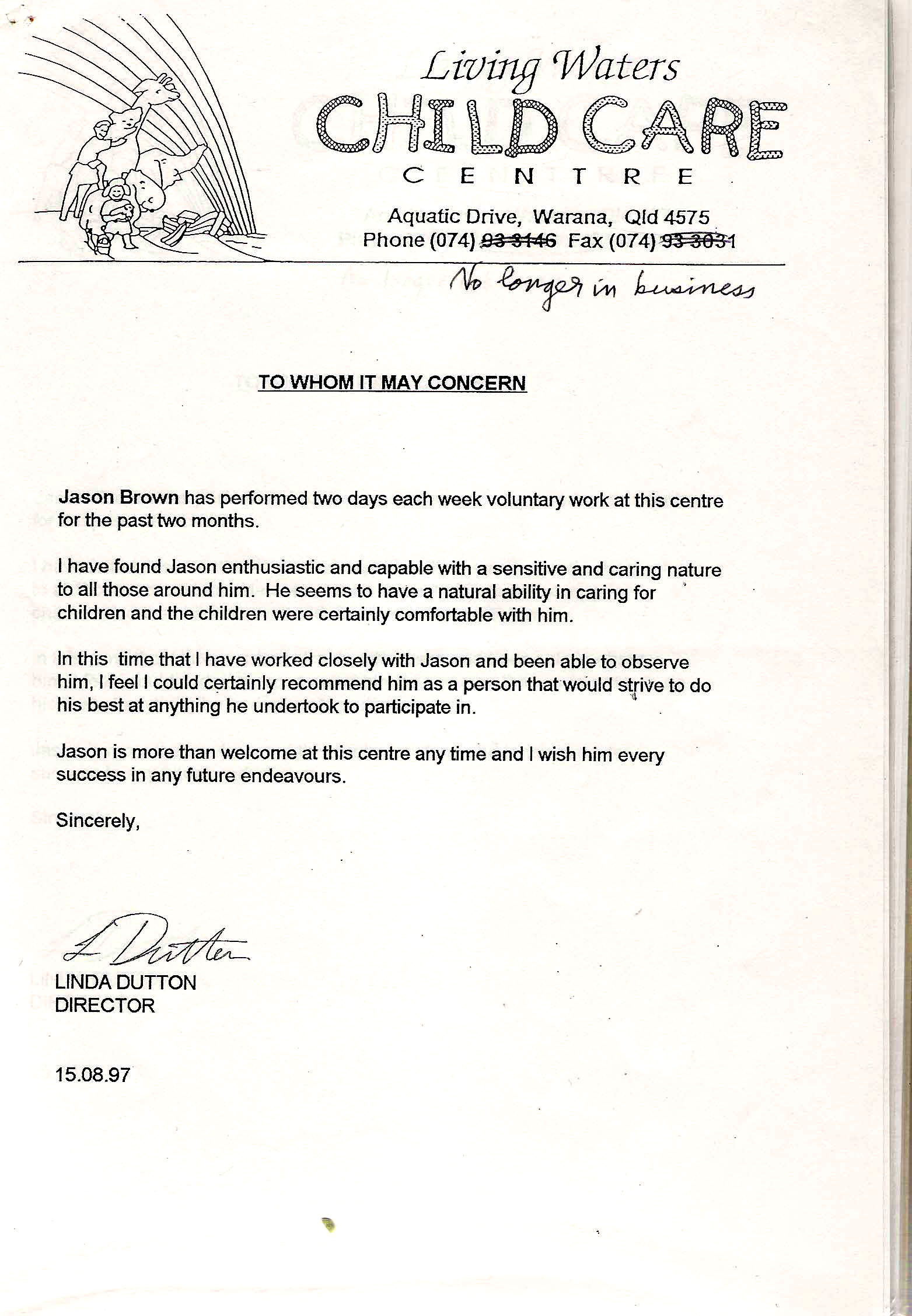 Reference Letter For Child Care from jasonbrown.com.au